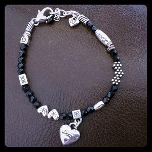 Brighton black beaded bracelet with heart